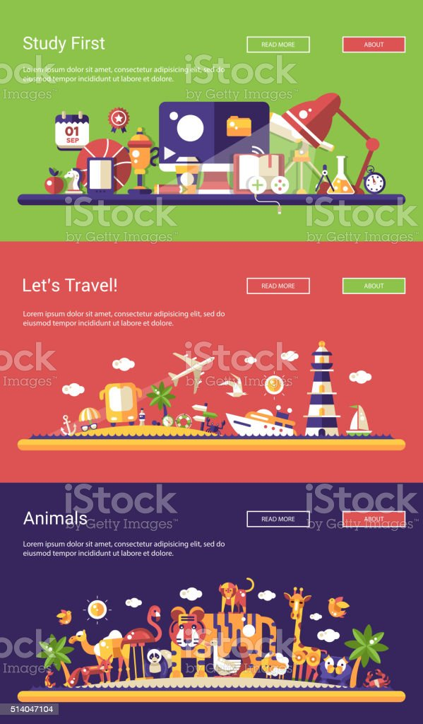 Flat design banners set. School, travel and wild animals vector art illustration