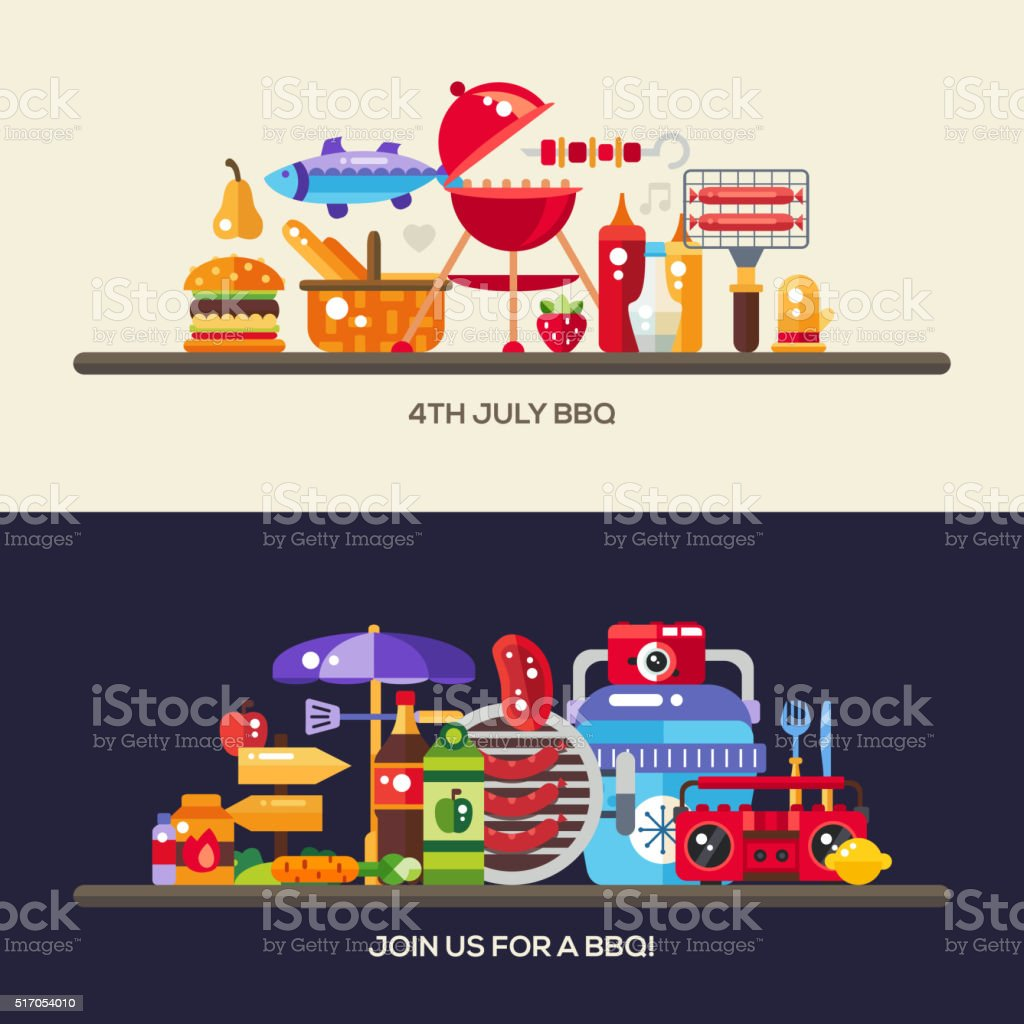 Flat design barbecue and summer picnic banners set vector art illustration