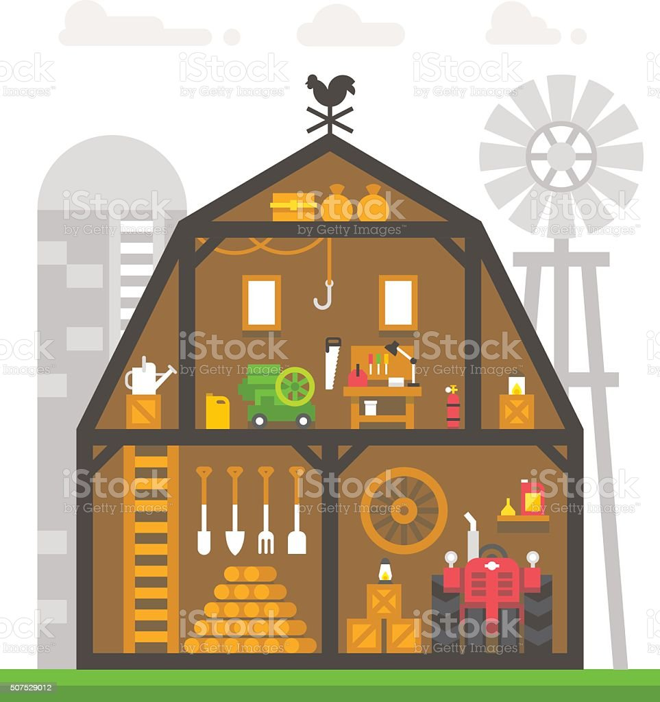 Flat design barn interior infographic vector art illustration