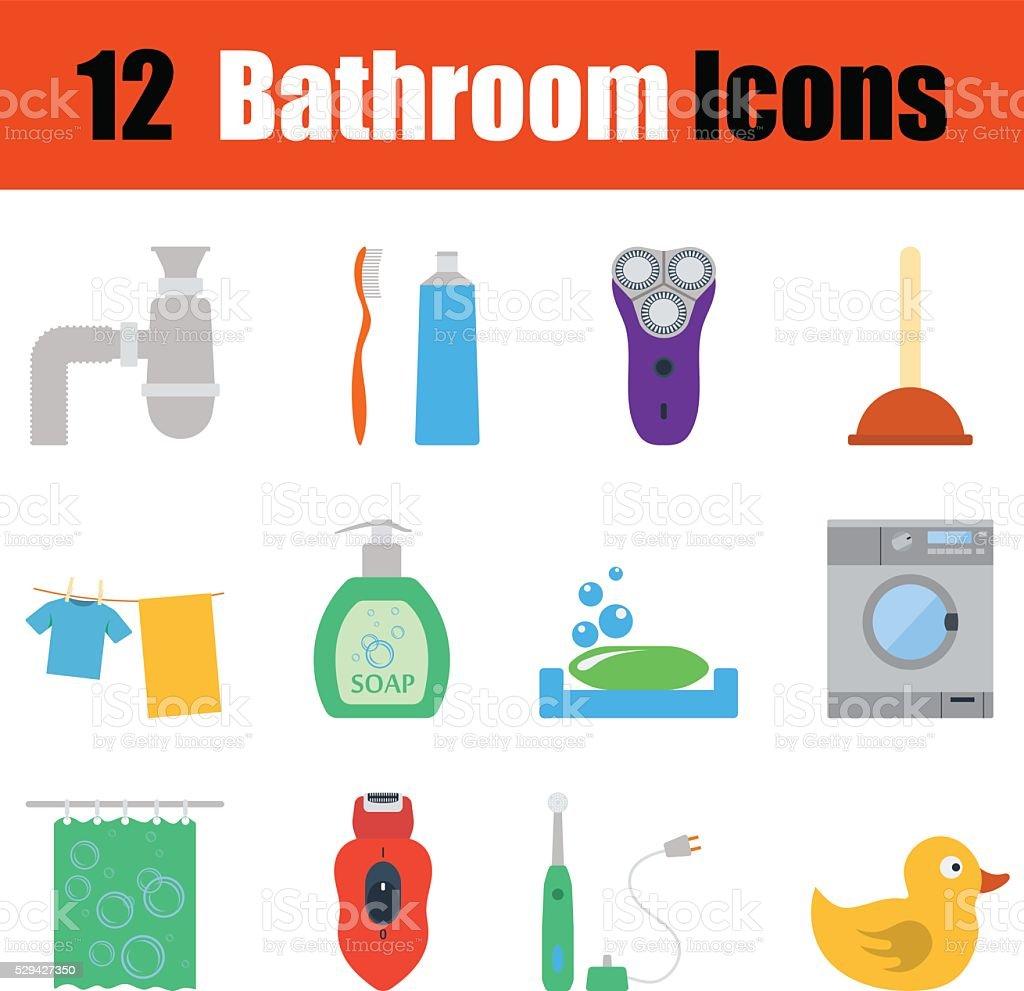 Flat design bathroom icon set vector art illustration