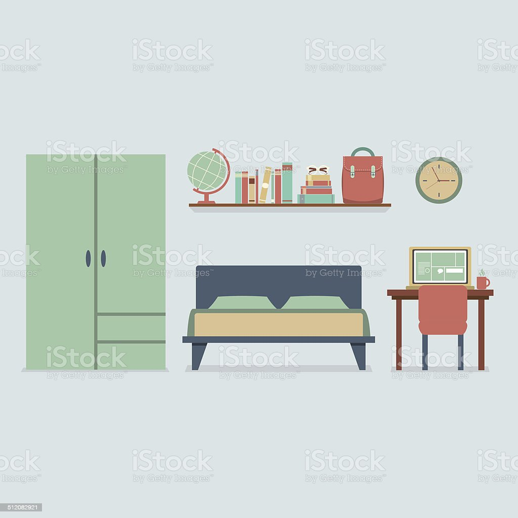 Flat Design Bedroom Interior Vector Illustration vector art illustration