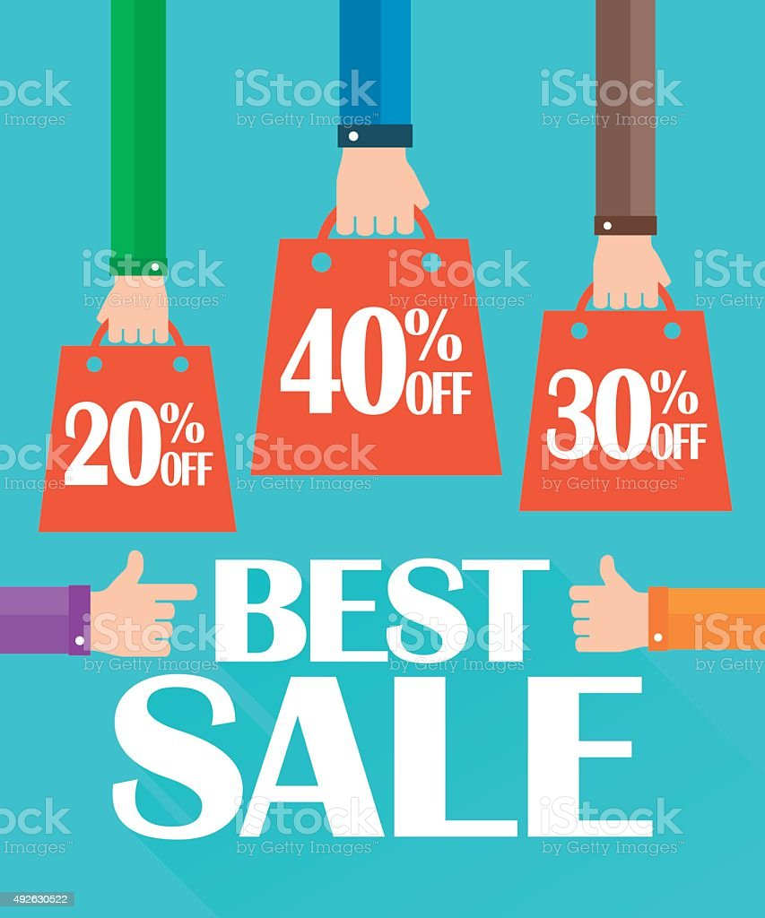 Flat design best sale, shopping bag vector art illustration