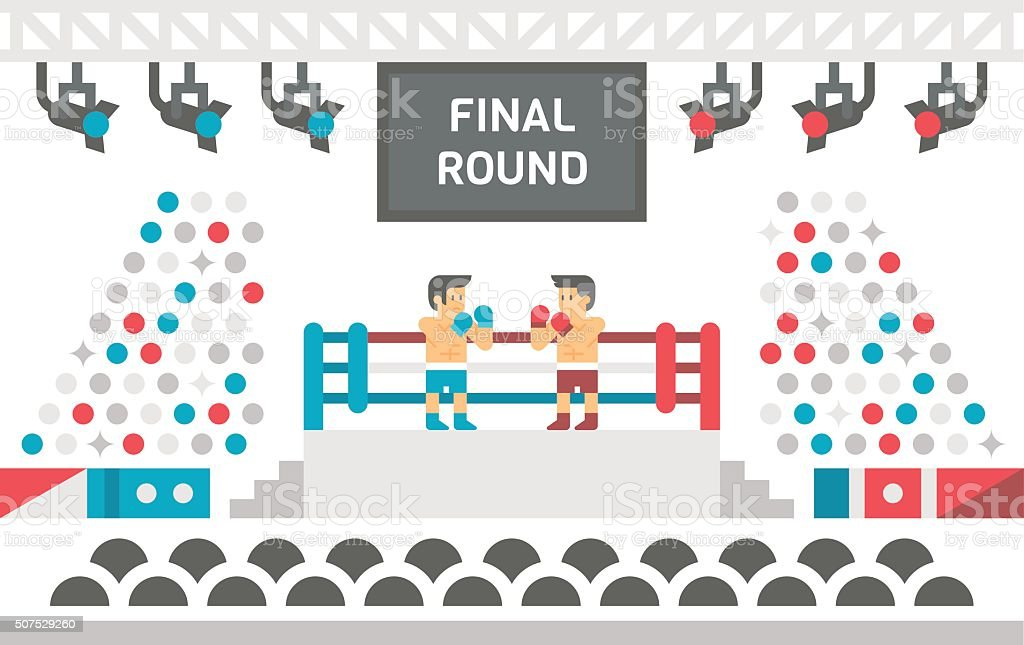 Flat design boxing stage fight vector art illustration