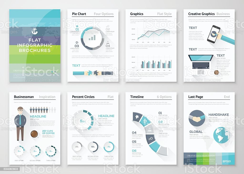 Flat design brochures and infographic business elements vector art illustration