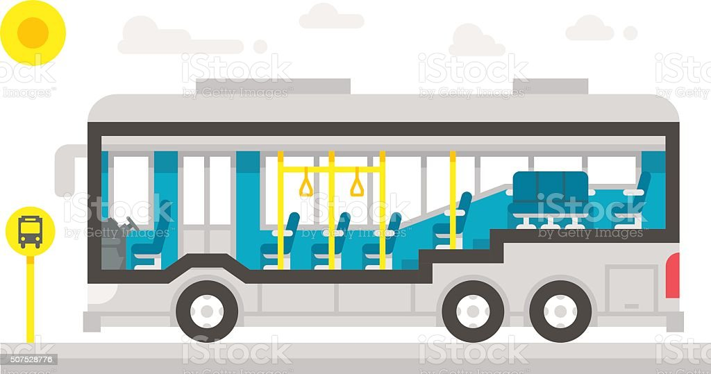Flat design bus interior infographic vector art illustration