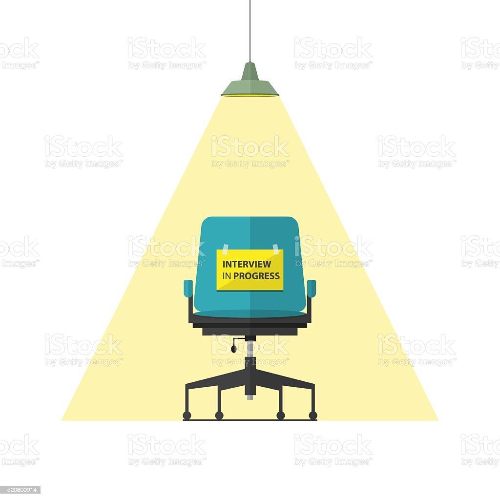 Flat design business chair. Interview in progress message on paper. vector art illustration