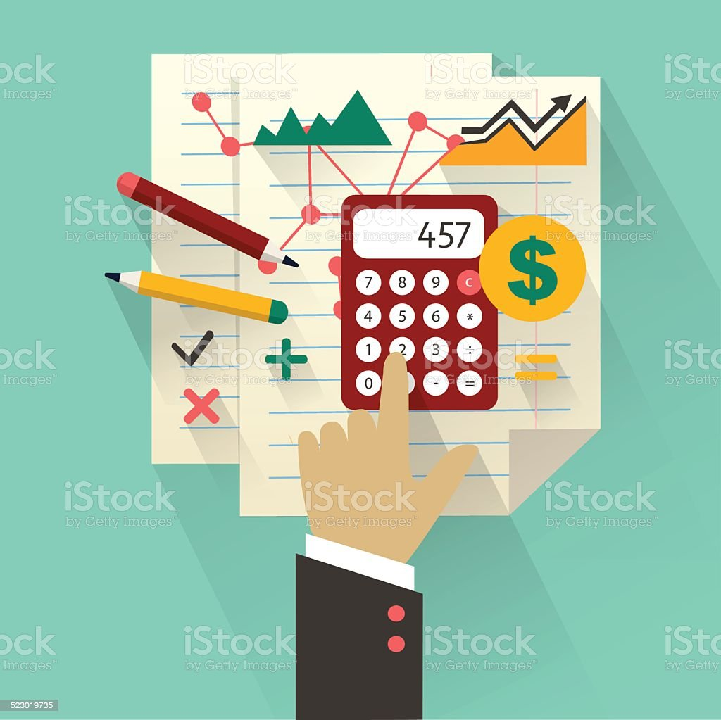 Flat design. Business concept with hand. Accounting infographic vector art illustration