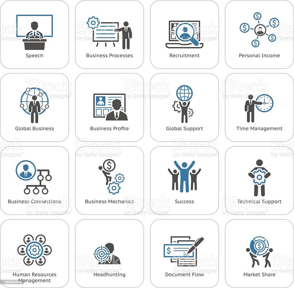 Flat Design Business Icons Set. vector art illustration