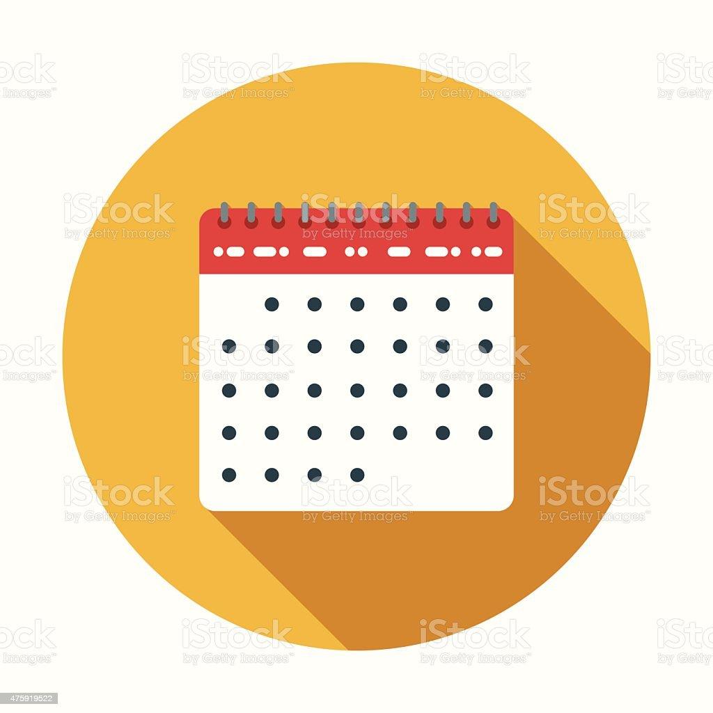 Flat Design Calendar Icon With Long Shadow vector art illustration