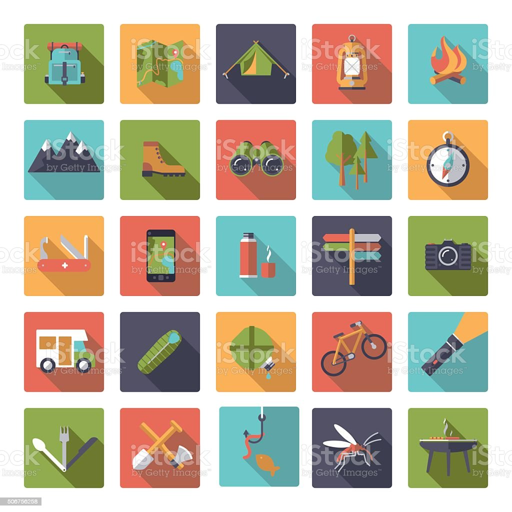 Flat Design Camping and Outdoor Pursuits Icon Set vector art illustration