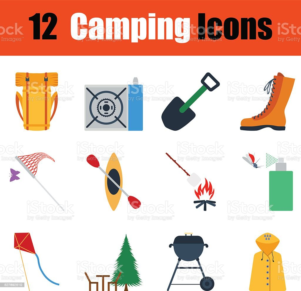 Flat design camping icon set vector art illustration