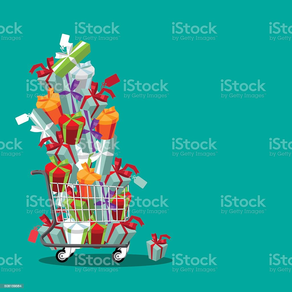 Flat design cartoon shopping cart stuffed with fun gifts vector art illustration