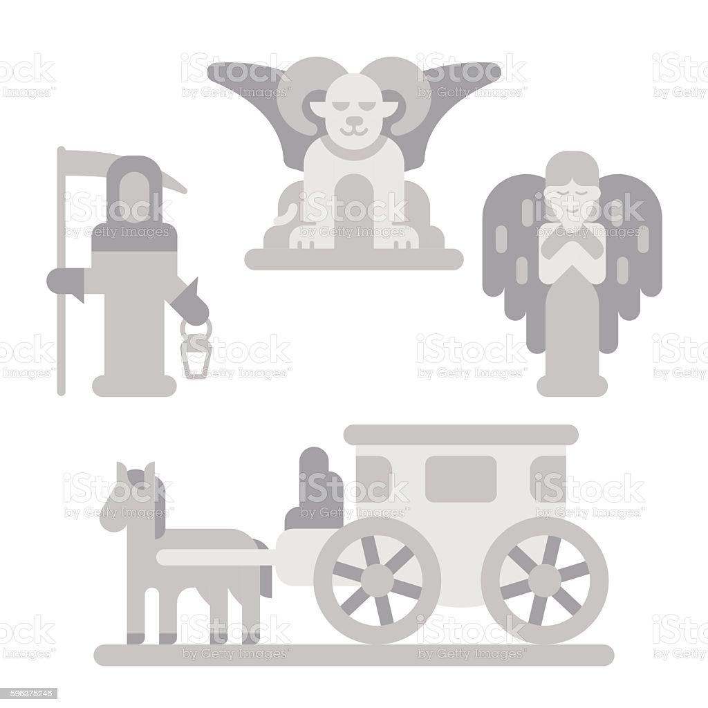 Flat design cemetery statue set vector art illustration