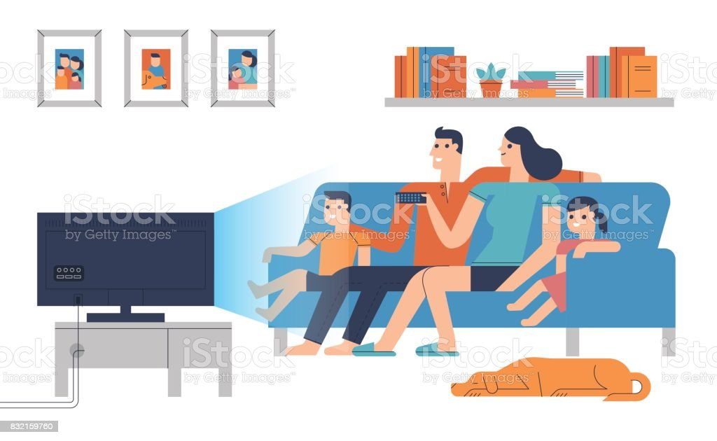 Flat design characters of family in living room vector art illustration