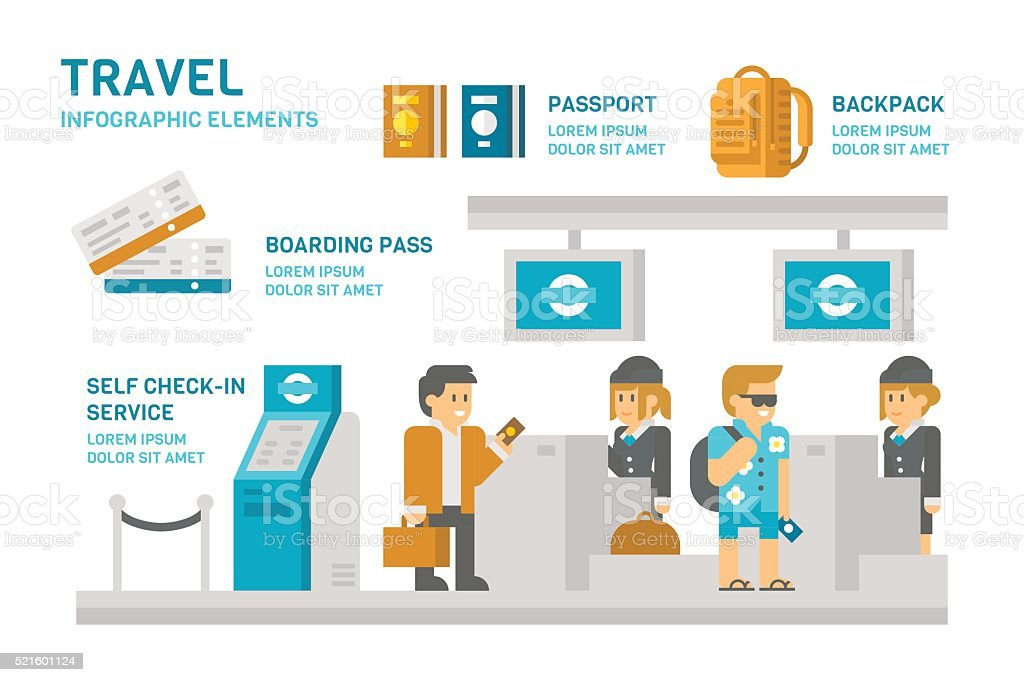 Flat design check-in at airport travel vector art illustration