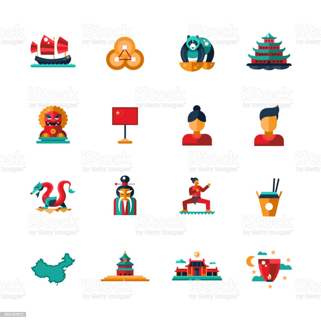 Flat design China travel icons, infographics elements with Chinese symbols vector art illustration