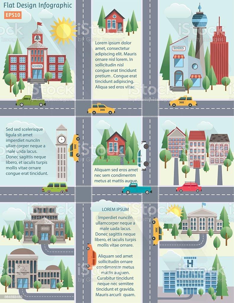 Flat Design Cityscape Infographic vector art illustration