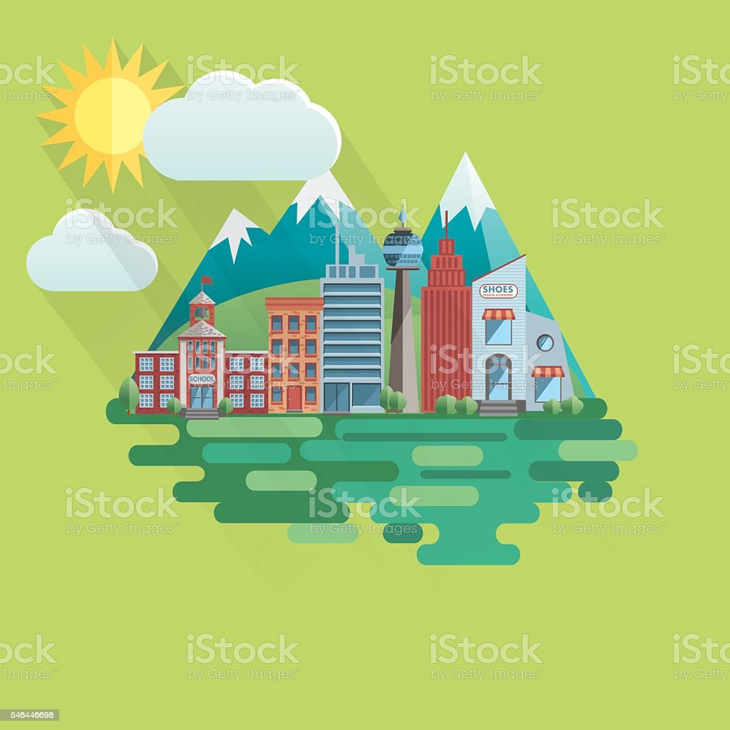 Flat Design Cityscape with Mountains vector art illustration