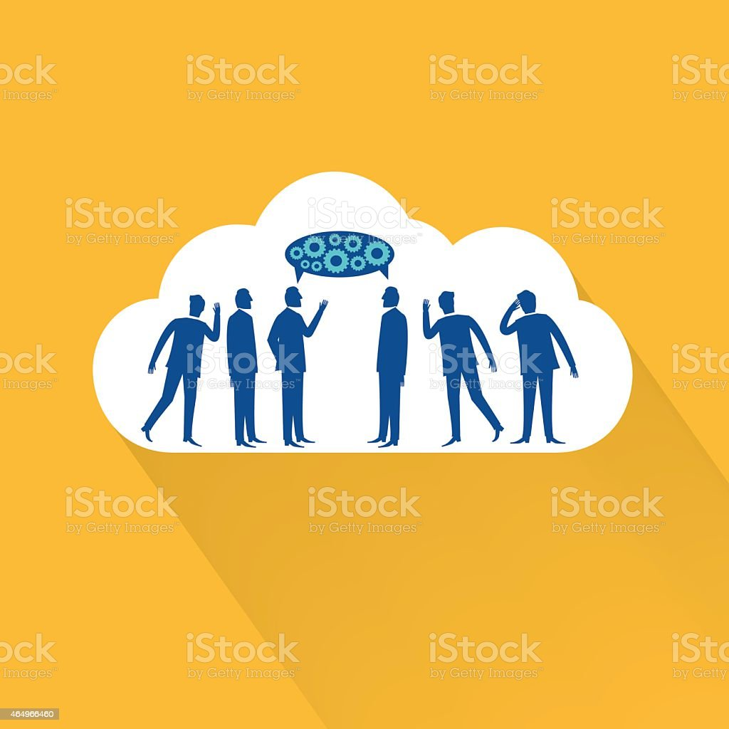 Flat Design Cloud Icon With Businessmen Talking Eavesdropping vector art illustration