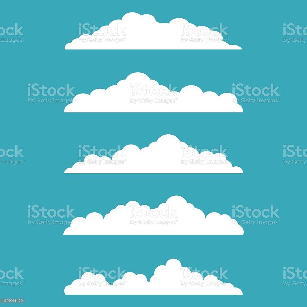 Flat design cloudscapes collection. vector art illustration