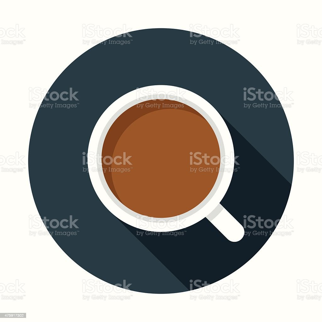 Flat Design Coffee Cup Icon With Long Shadow vector art illustration