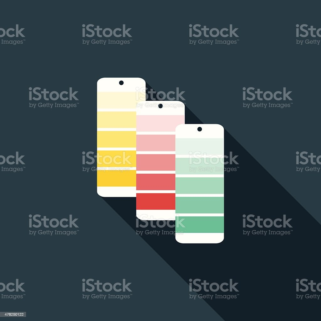 Flat Design Color Swatches Icon With Long Shadow vector art illustration
