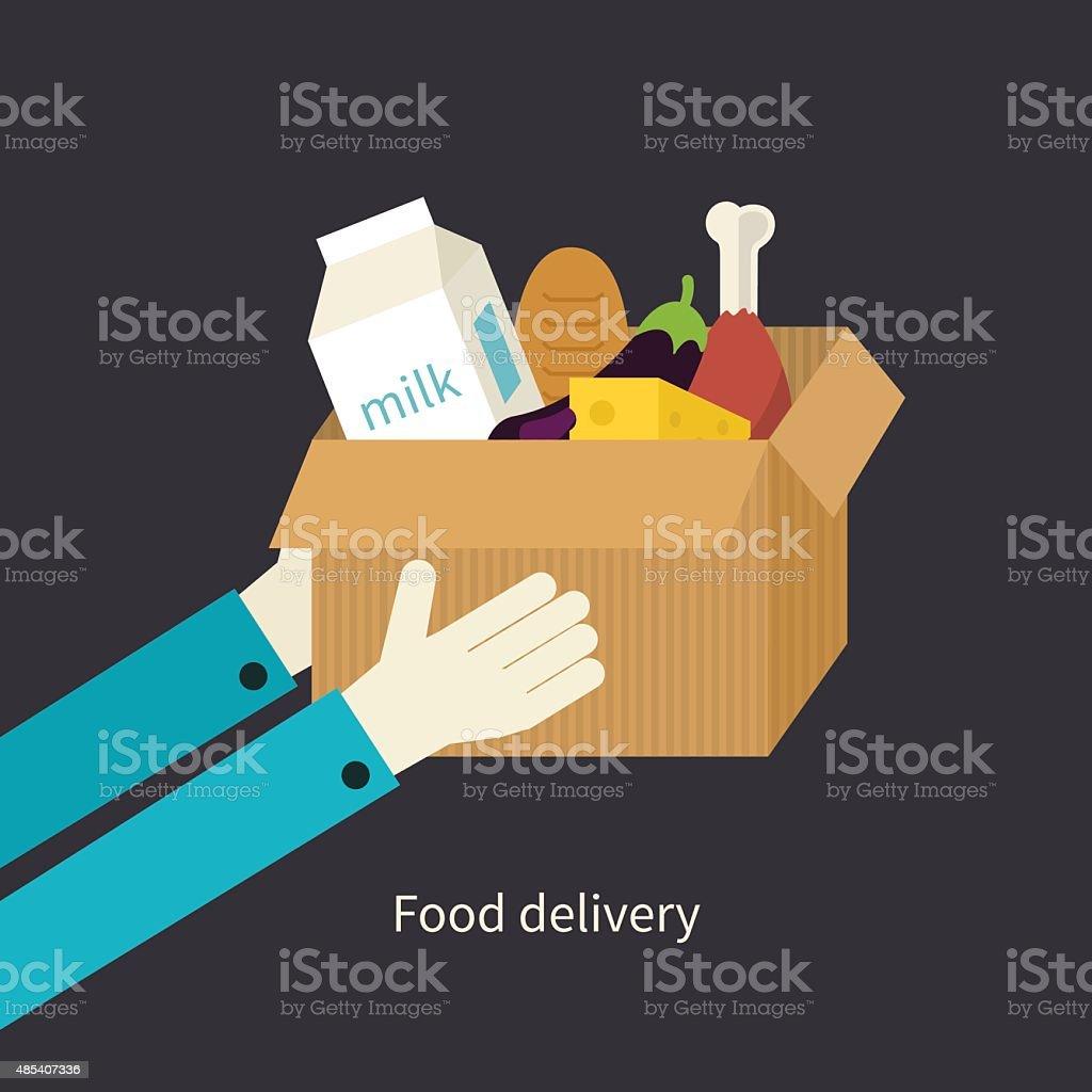 Flat design colorful vector illustration concept for grocery delivery vector art illustration