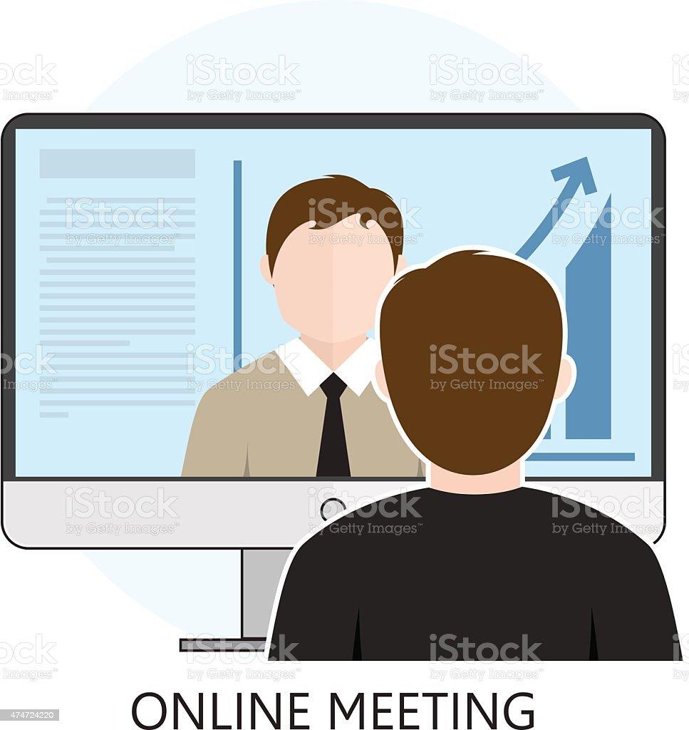 Flat design Colorful Vector Illustration Concept for Online Meeting vector art illustration