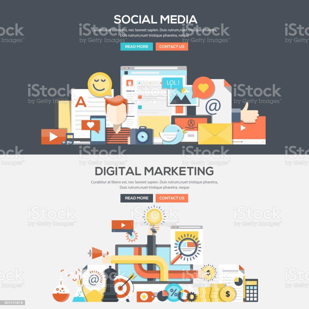 Flat design concept banner - Social Media and Digital Marketing vector art illustration