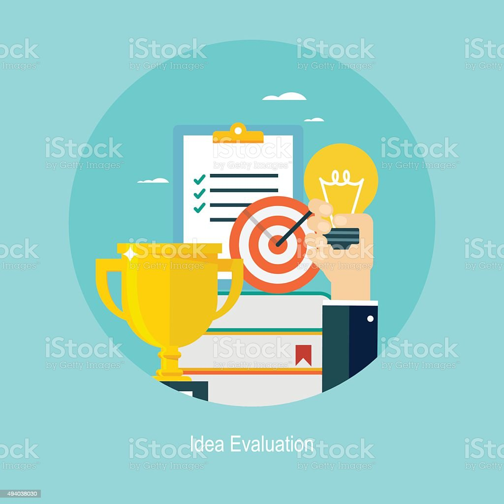 Poster design questionnaire - Flat Design Concept For Idea Evaluation Royalty Free Stock Vector Art