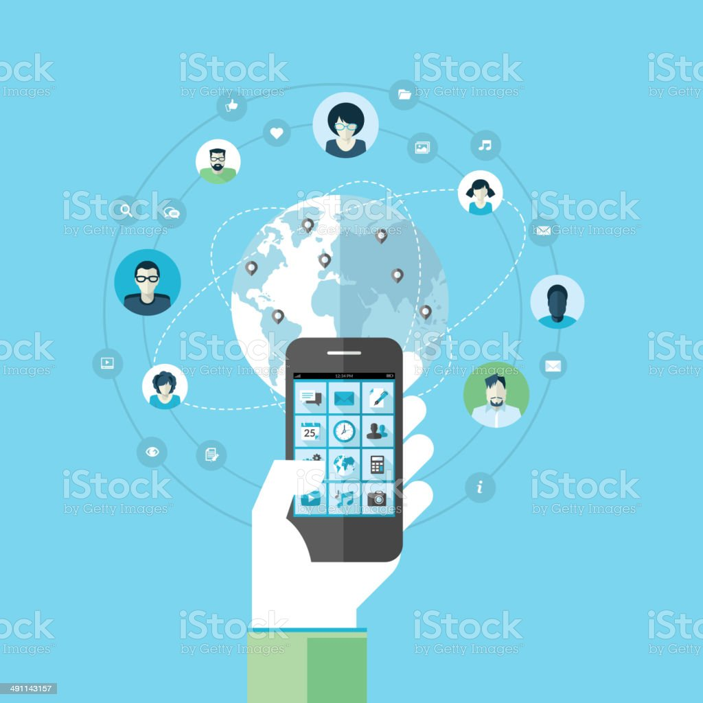 Concepto de diseño plano para aplicaciones y servicios de teléfono móvil illustracion libre de derechos libre de derechos