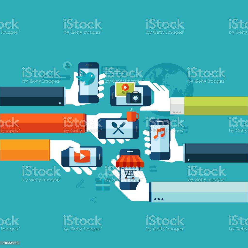 Flat design concept for smartphone services vector art illustration