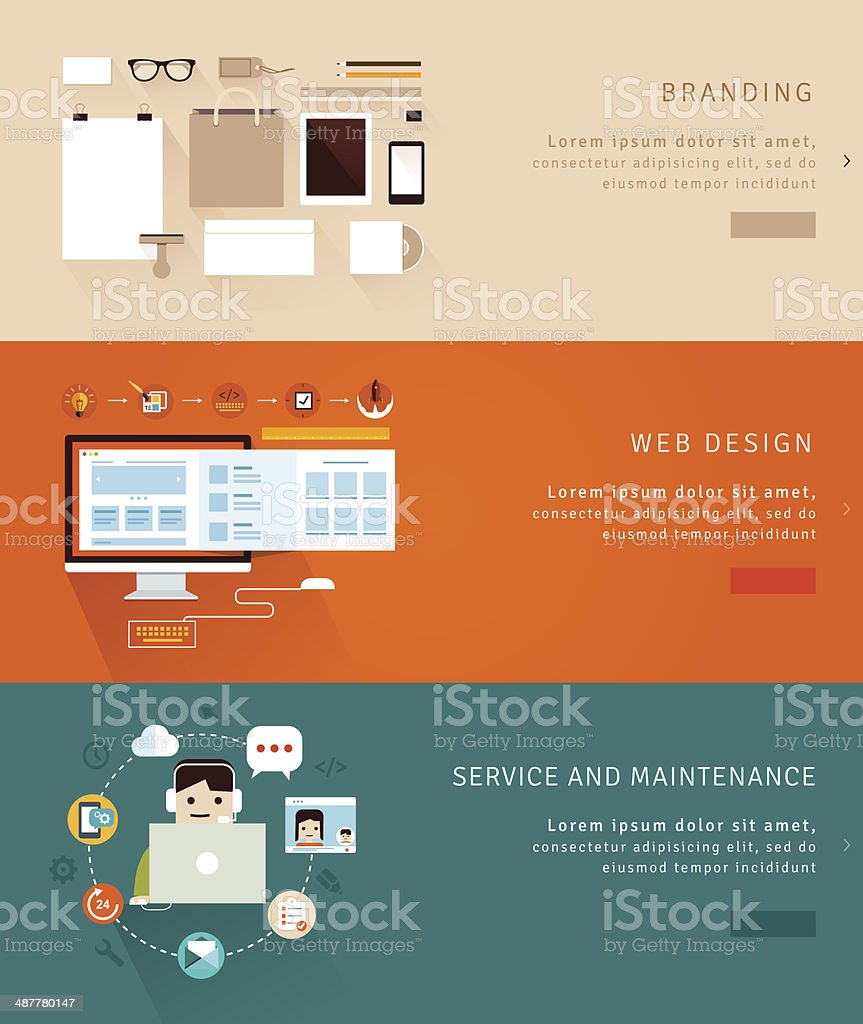 Flat Design Concept Icons and banners vector art illustration