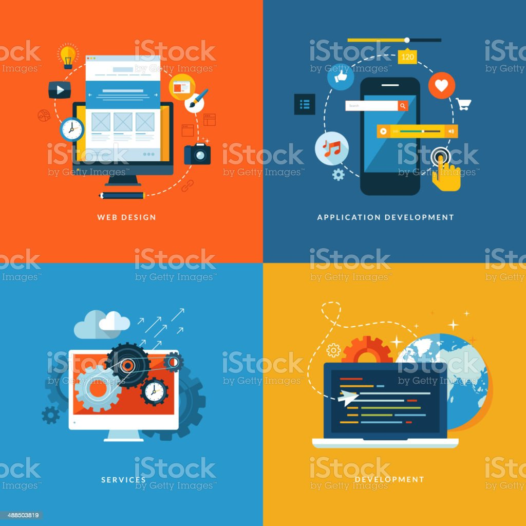flat design concept icons for web and mobile services and apps vector art illustration