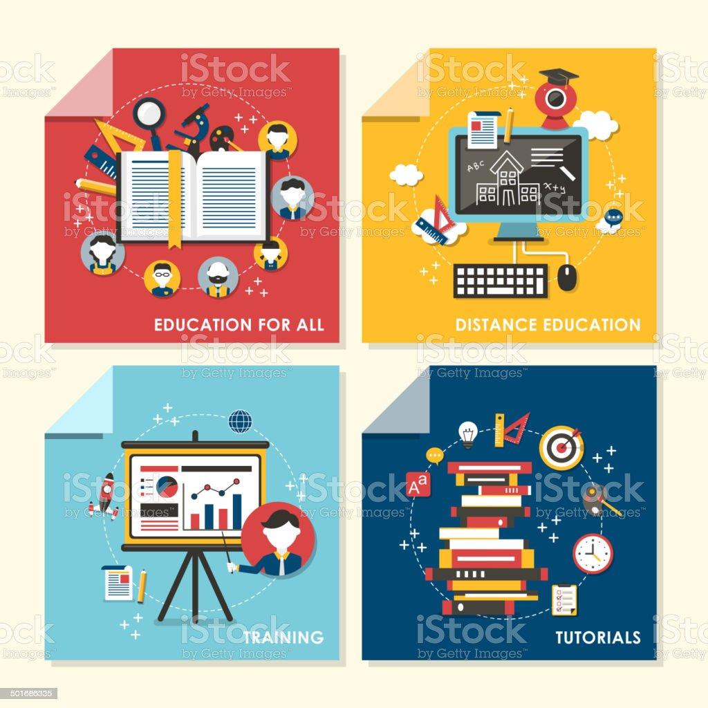 flat design concept illustration for education and training vector art illustration