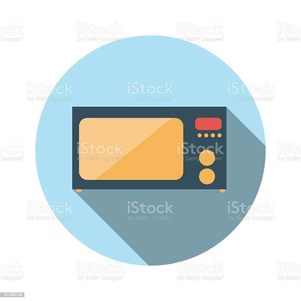 Flat Design Concept Microwave Vector Illustration With Long Shad vector art illustration