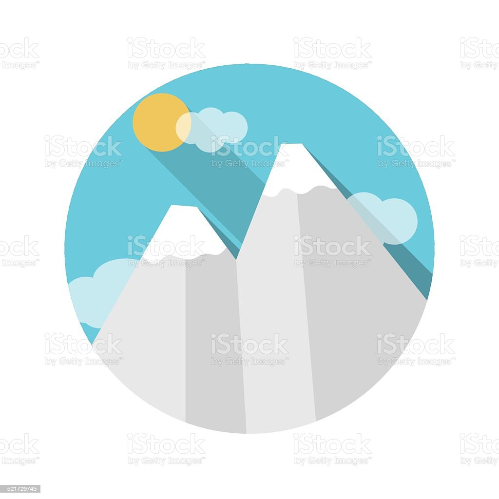 Flat Design Concept Mountains Vector Illustration With Long Shad vector art illustration