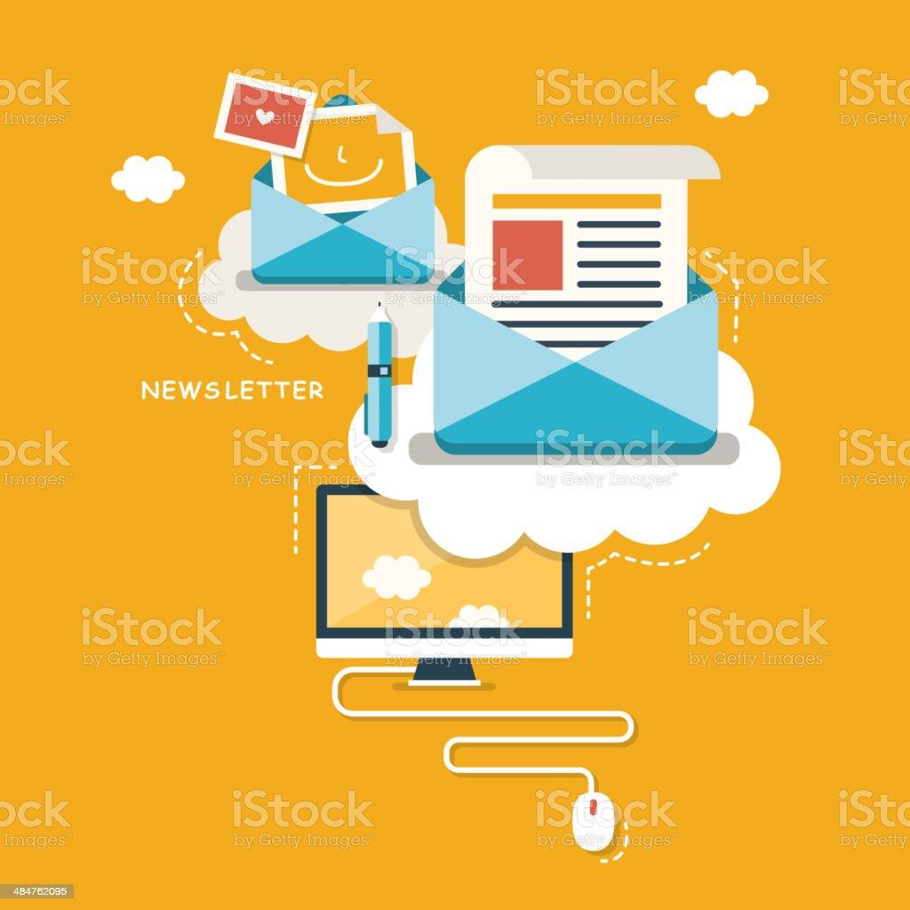 flat design concept of newsletter vector art illustration