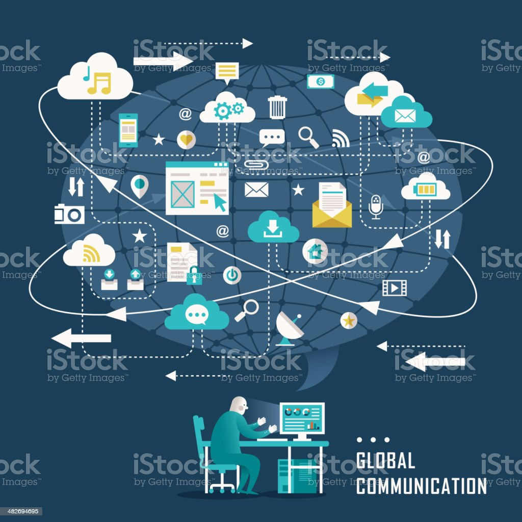 flat design concept with icons of global communication vector art illustration