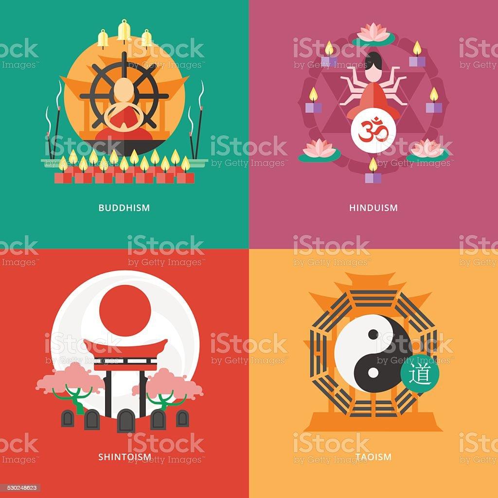 Flat design concepts for buddhism, hinduism, shintoism, taoism. vector art illustration
