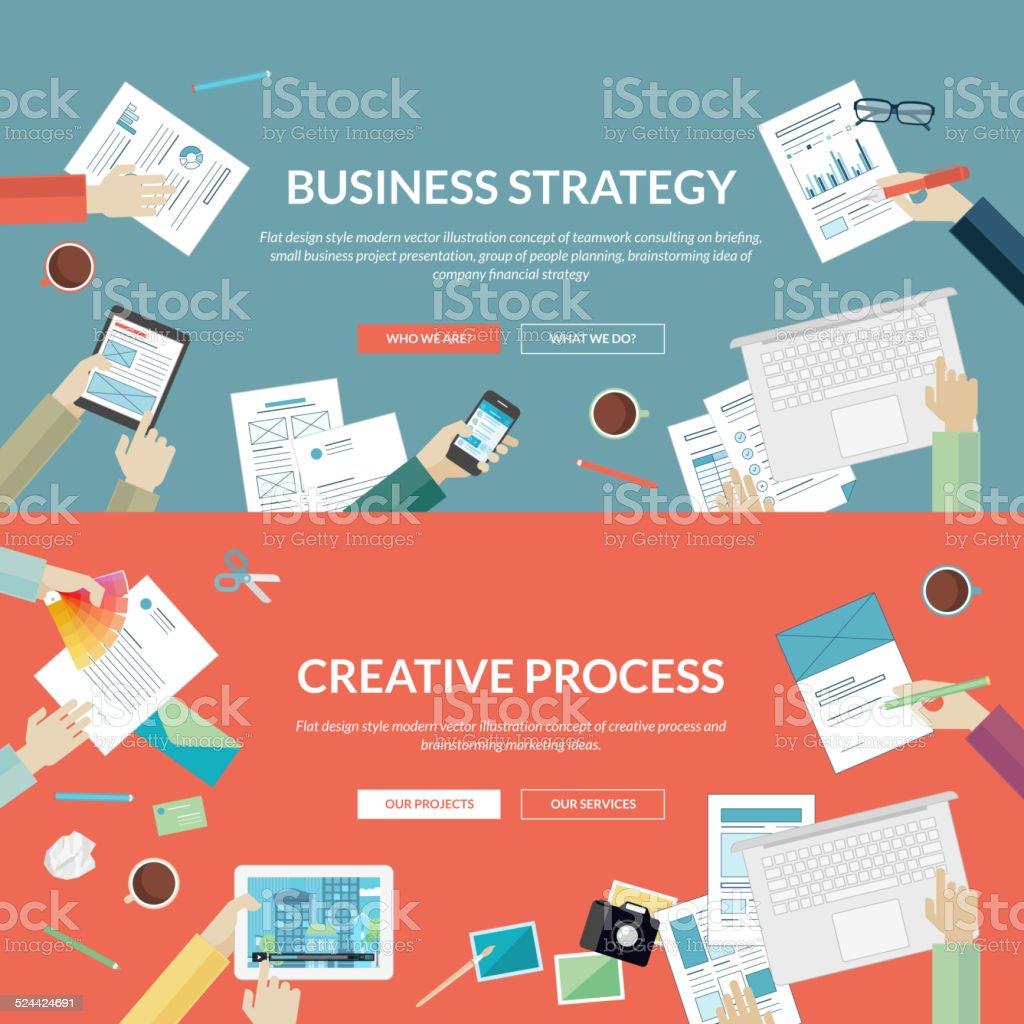 Diseño plano de conceptos de la estrategia comercial y el proceso creativo illustracion libre de derechos libre de derechos