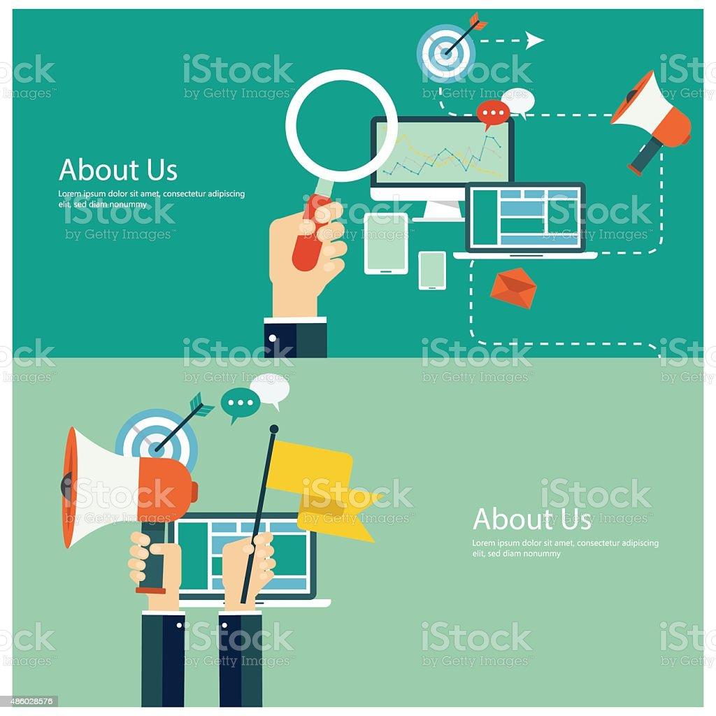 Flat design concepts for digital marketing and promotion vector art illustration