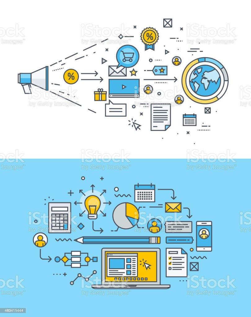 Diseño plano de conceptos de marketing en internet y el sitio Web de Desarrollo illustracion libre de derechos libre de derechos