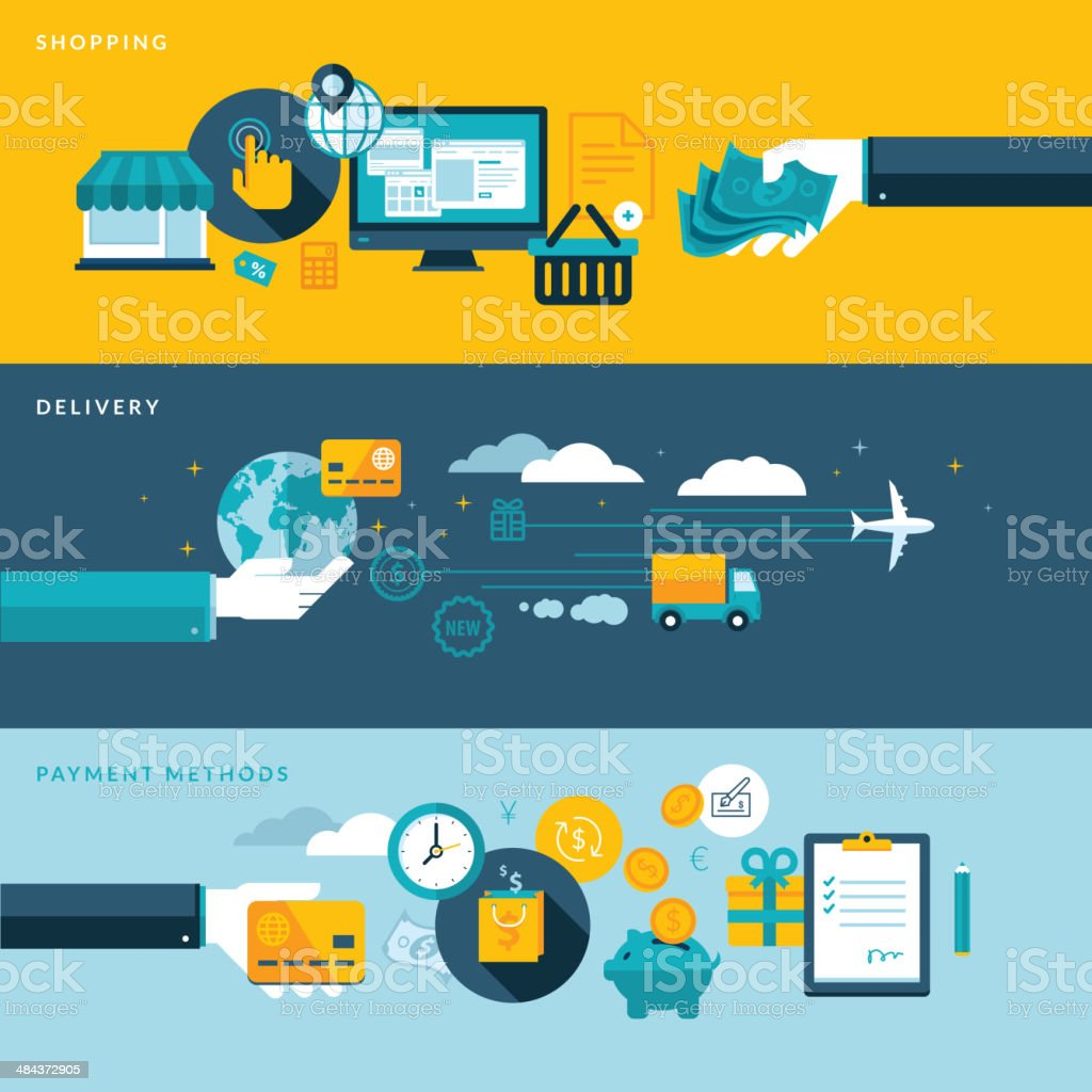 Flat design concepts for online shopping, delivery and payment methods vector art illustration