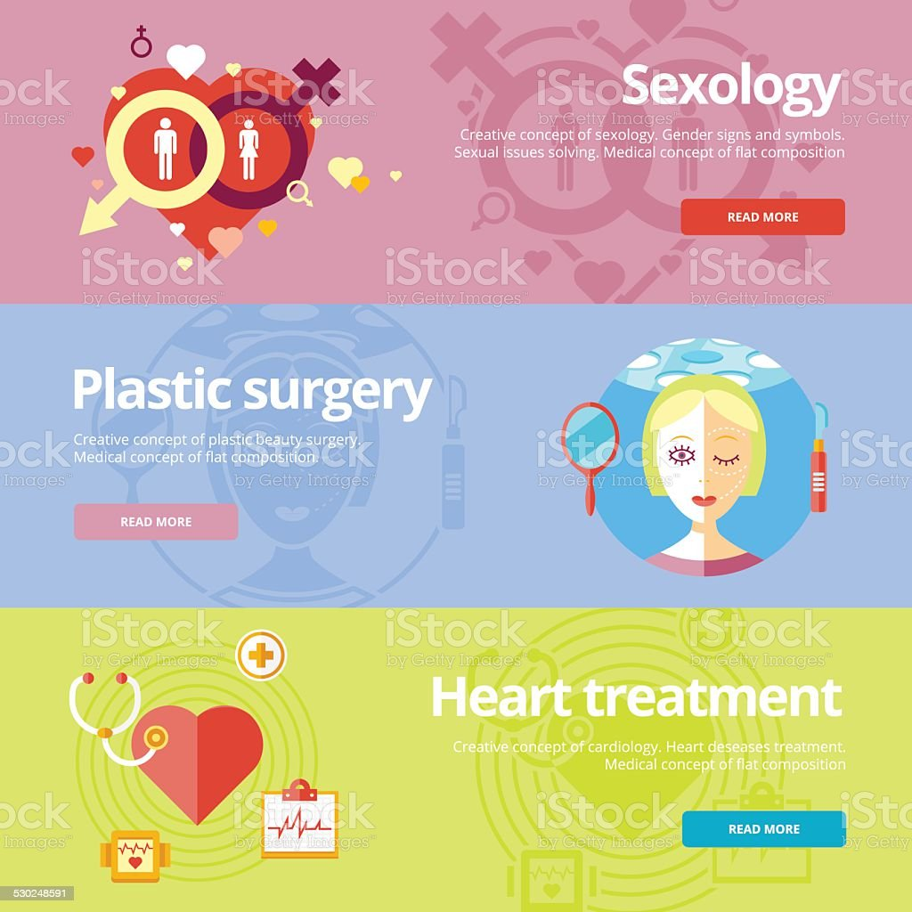 Flat design concepts for sexology, plastic surgery, heart treatment. vector art illustration
