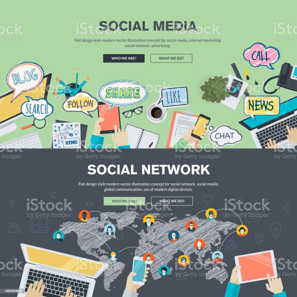 Conceptos de diseño plano para redes sociales y redes sociales illustracion libre de derechos libre de derechos