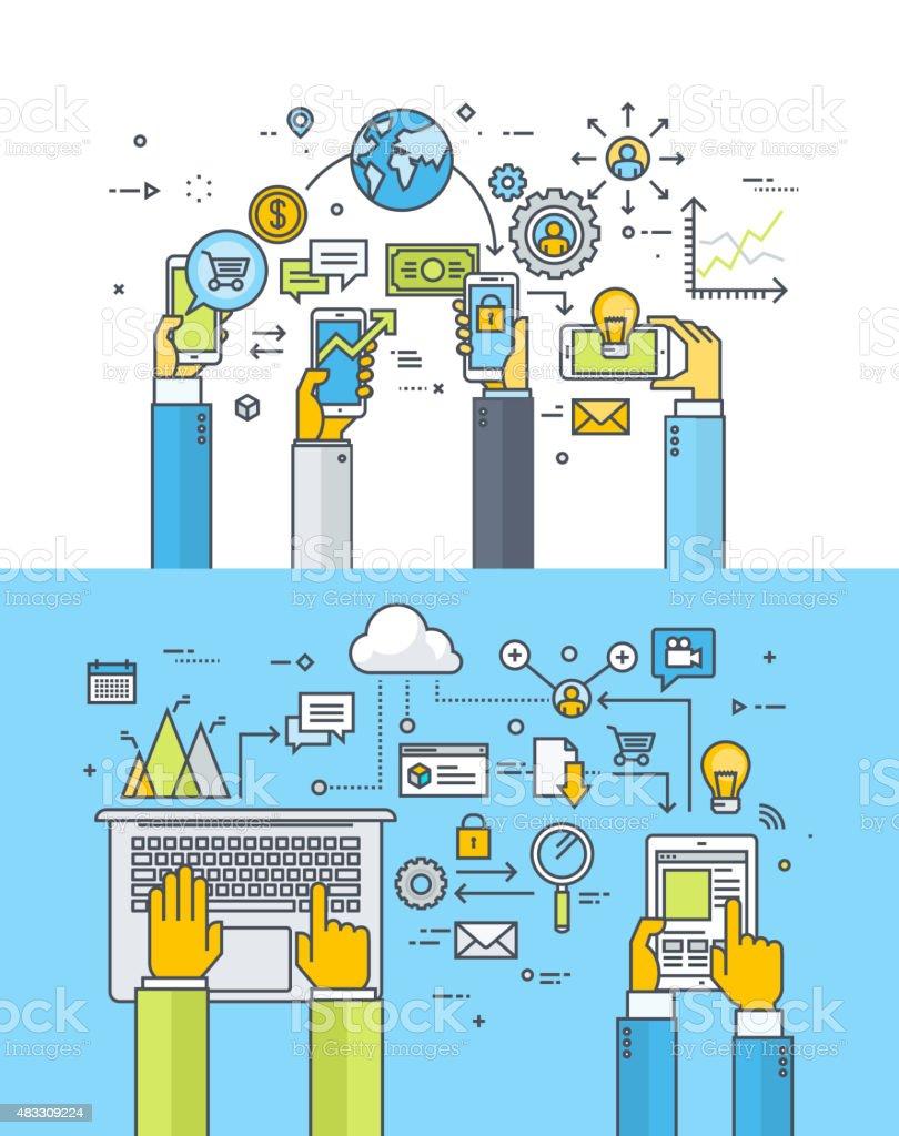 Conceptos de diseño plano para web y aplicaciones móviles y servicios illustracion libre de derechos libre de derechos