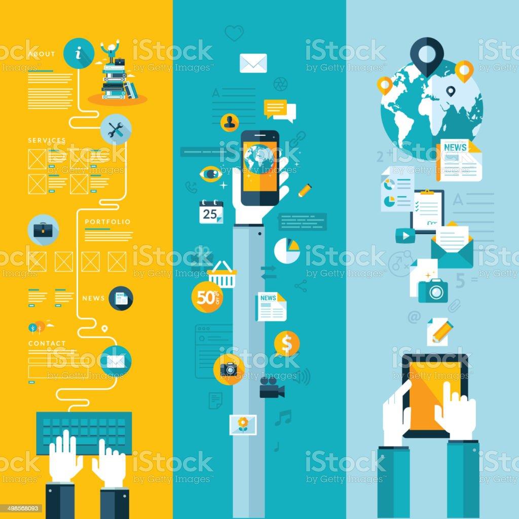 Conceptos de diseño plano para web, móvil y tablet y aplicaciones de servicio illustracion libre de derechos libre de derechos