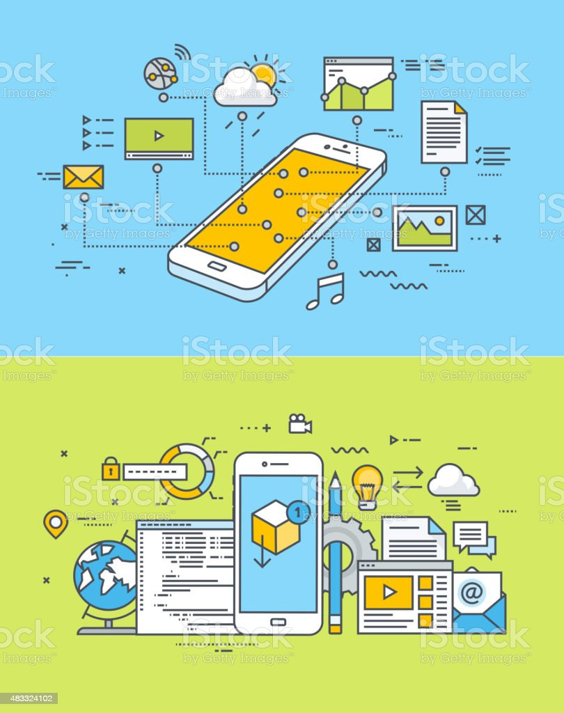 Flat design concepts of mobile site and app design vector art illustration
