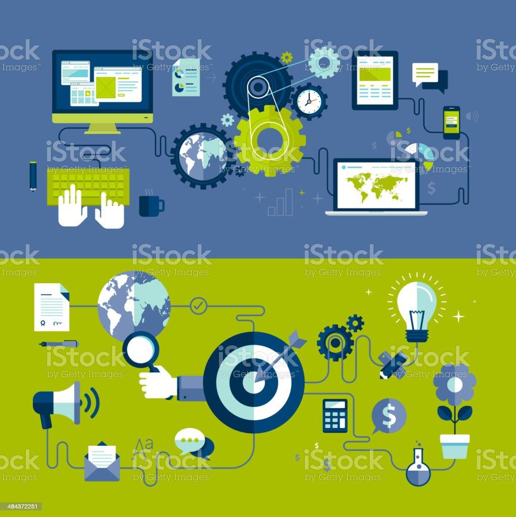Diseño plano de conceptos de diseño web y a la publicidad del proceso illustracion libre de derechos libre de derechos